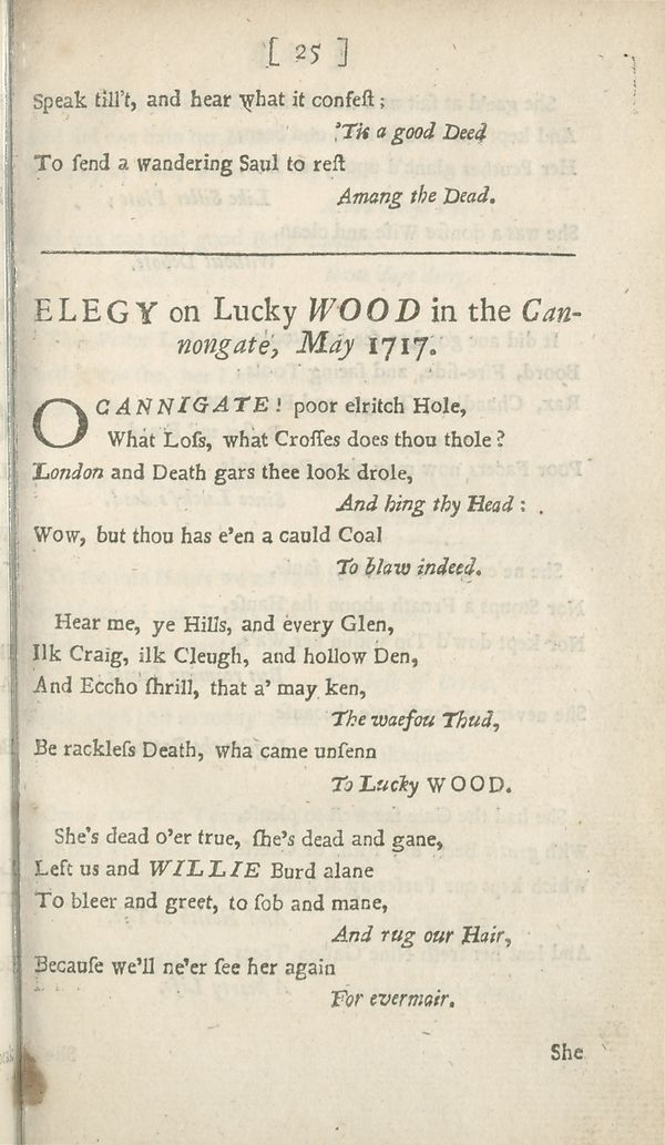(53) Page 25 - Elegy on Lucky Wood in the Cannongate, May 1717