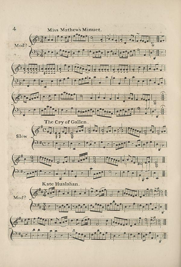 (14) Page 4 - Miss Mathew's Minuet -- Cry of Gallen -- Kate Hualahan