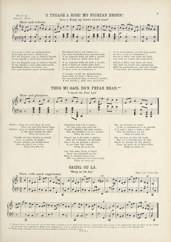 (17) Page 5 - 'S truagh a righ, mo nighean dhonn -- Thug mi goal do'n fhear bhan -- Caidil gu la