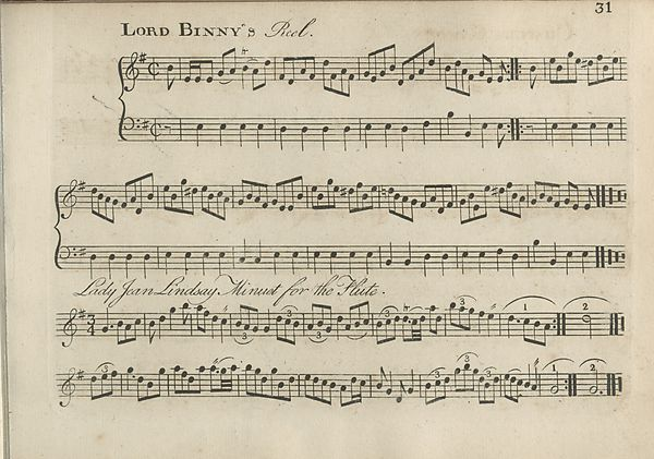 (41) Page 31 - Lord Binny's Reel -- Lady Jean Lindsay minuet for the Flute
