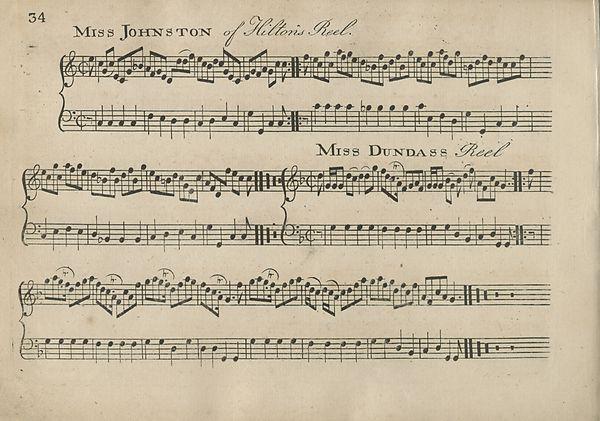 (44) Page 34 - Miss Johnston of Hiltoris Reel -- Miss Dundass Reel