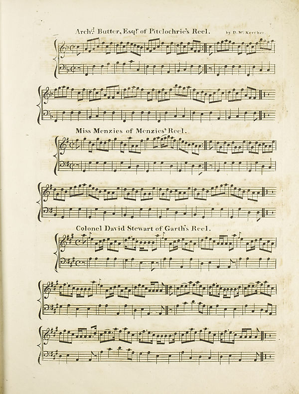 19 Page 11 Archd Butter Esqr Of Pitclochrie S Reel Miss Menzies Of Menzies Reell Colonel David Stewart Of Garth S Reel Glen Collection Of Printed Music Printed Music