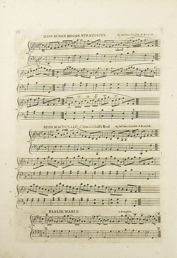 (28) Page 22 - Miss Susan Bogg's strathspey -- Miss MacDonald of Powder Hall's reel -- Elslie Marly