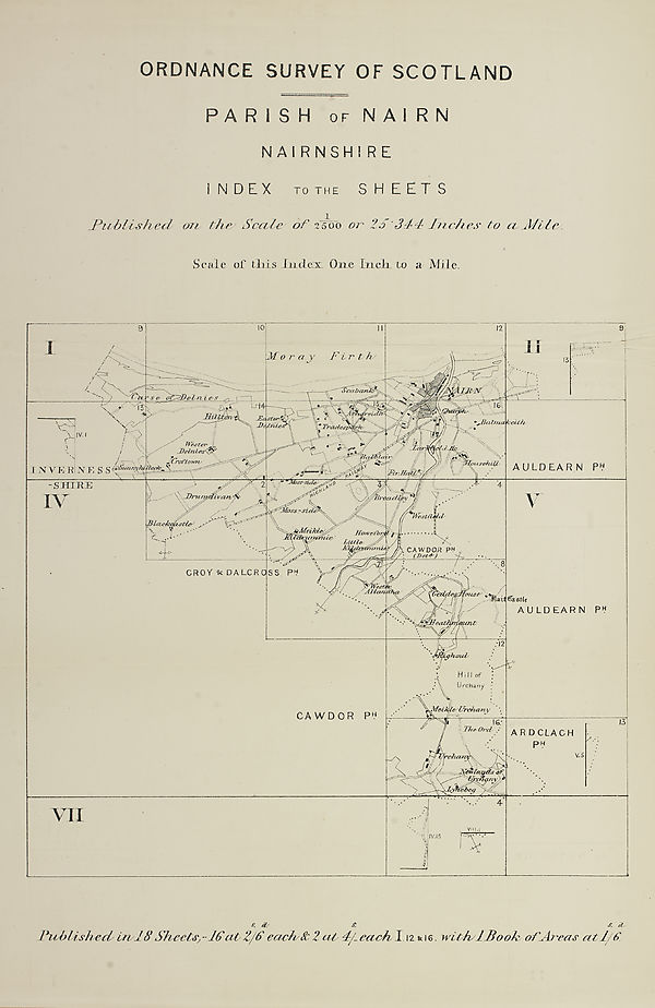 Nairn Scotland Map.11 Map Parish Of Nairn Nairn Rathen Ordnance Survey Books