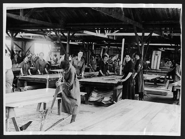 (1) C.1968 - Work in full swing in the lady carpenters workshop in France