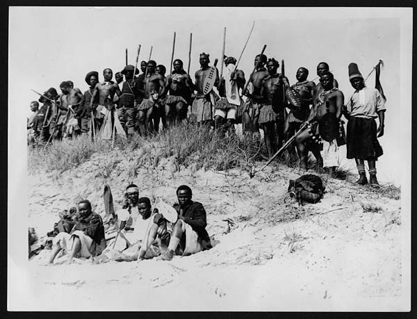 (8) C.1902 - Some of the Zulus waiting to enter the ring for the dance