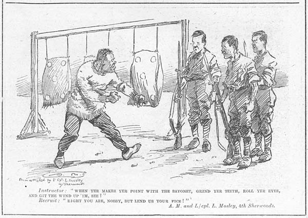 (11) Page 20 - When yer makes yer point with the bayonet, grind yer teeth, roll yer eyes, and get the wind up 'im, see