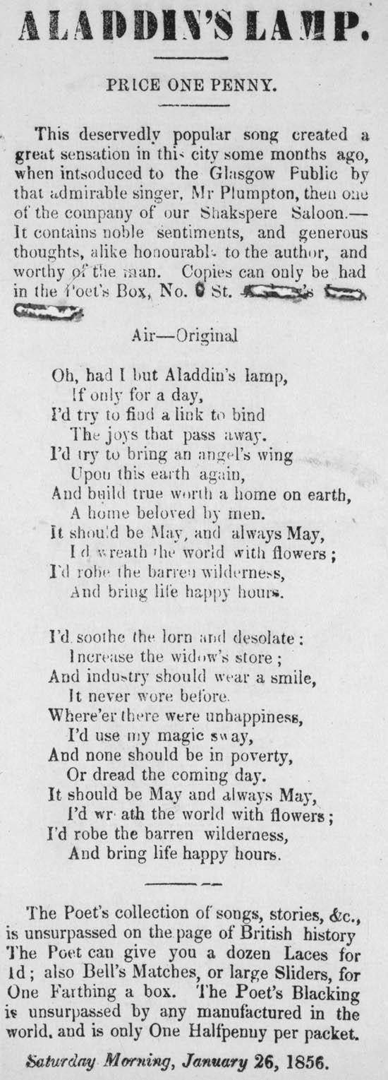 Broadside ballad entitled 39aladdin39s lamp39 for Lamp light poem