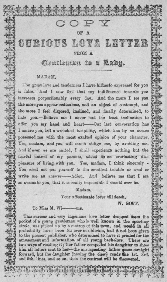 entitled Copy of a Curious Love Letter from a Gentleman to a Lady