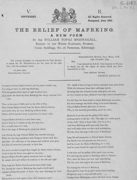 Broadside publication of a poem entitled 'The Relief of