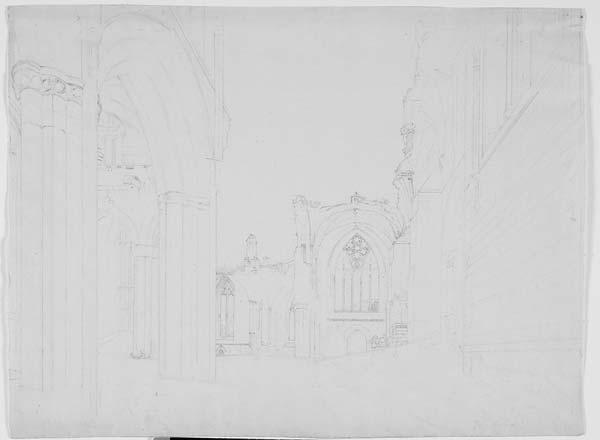 (13) 158 - Interior of Melrose Abbey, Roxburghshire