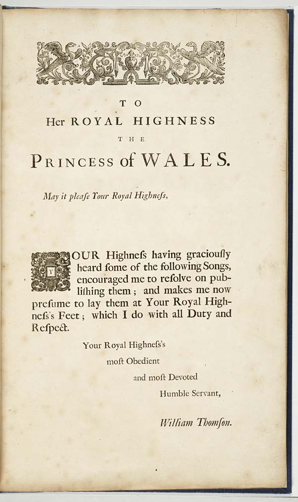 (2) Dedication - To her Royal Highness the Princess of Wales