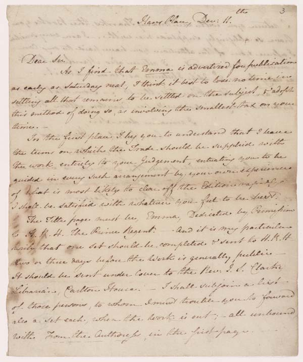 Letter of Jane Austen to John Murray, 11 December 1815 - MS.42001 f.3