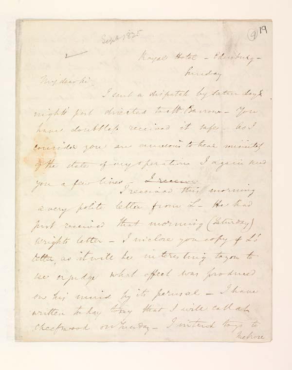 Letter of Benjamin Disraeli to John Murray, 18 September 1825 - MS.42625 ff.19-20
