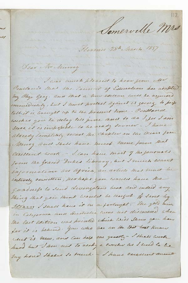 Letter of Mary Somerville to John Murray, 28 March 1857 - Ms.41131 ff.112-113