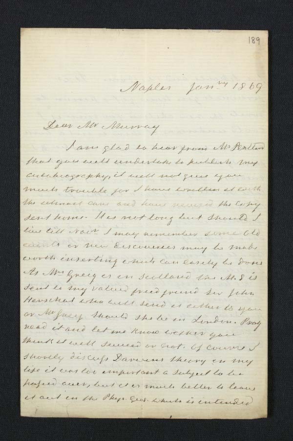 Letter of Mary Somerville to John Murray, January 1869 - Ms.41131 ff.189-190