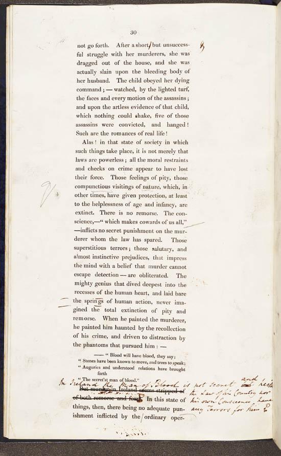Annotated proof of Sir Robert Peel's speech on 'Suppressing Disturbance in Ireland', 1833 - MS.42518