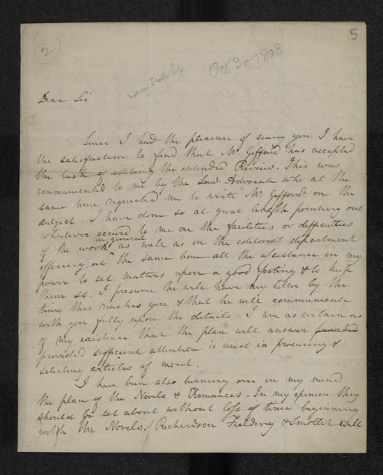 Letter of Sir Walter Scott to John Murray, 30 October 1808 - MS.42535 ff.5-6