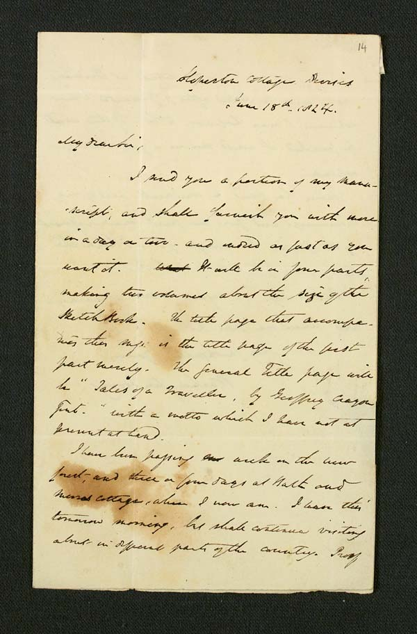 Letter of Washington Irving to John Murray, 18 June 1824 - MS.42307 ff.14-15