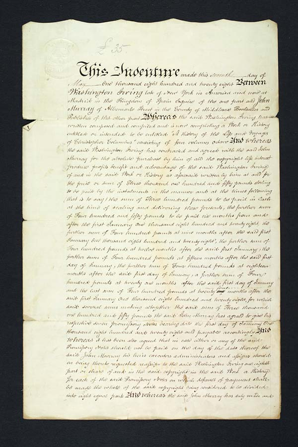 Copyright agreement for Washington Irving's 'The Life and Voyages of Christopher Columbus', 7 May 1828 - MS.42316 ff.1-2