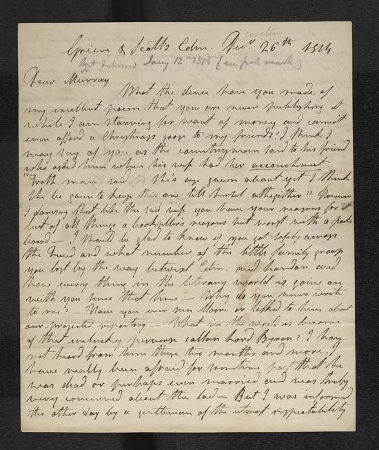Letter of James Hogg to John Murray, 26 December 1814 - MS.42305 f.1
