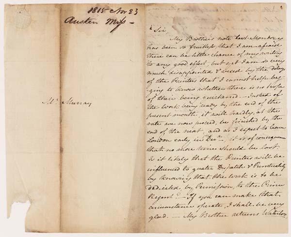 Letter of Jane Austen to John Murray, 23 November 1815 - MS.42001 ff.1-2