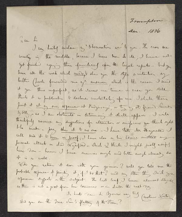 Letter of Caroline Norton to John Murray, December 1836 - MS.42507