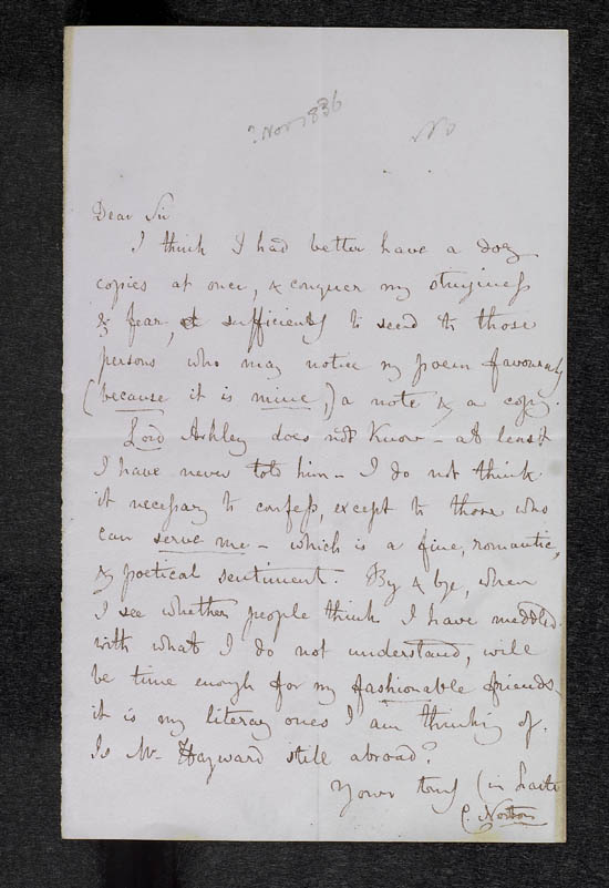 Letter of Caroline Norton to John Murray, November 1836 - MS.42507