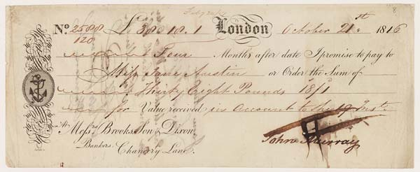 Cheque of John Murray to Jane Austen, 21 October 1816 - MS.42001 f.8