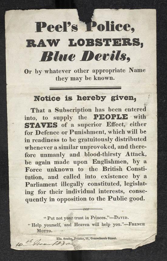 Handbill for 'Peel's Police' - MS.42523