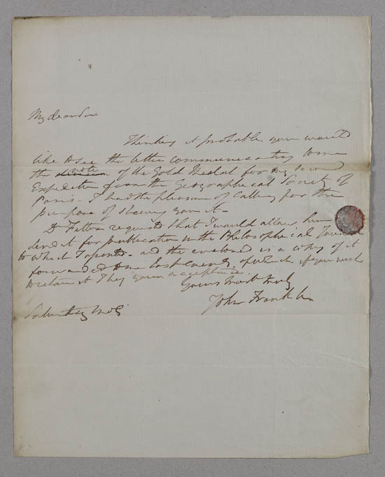 Letter of Sir John Franklin to John Murray, 1829 - MS.42236