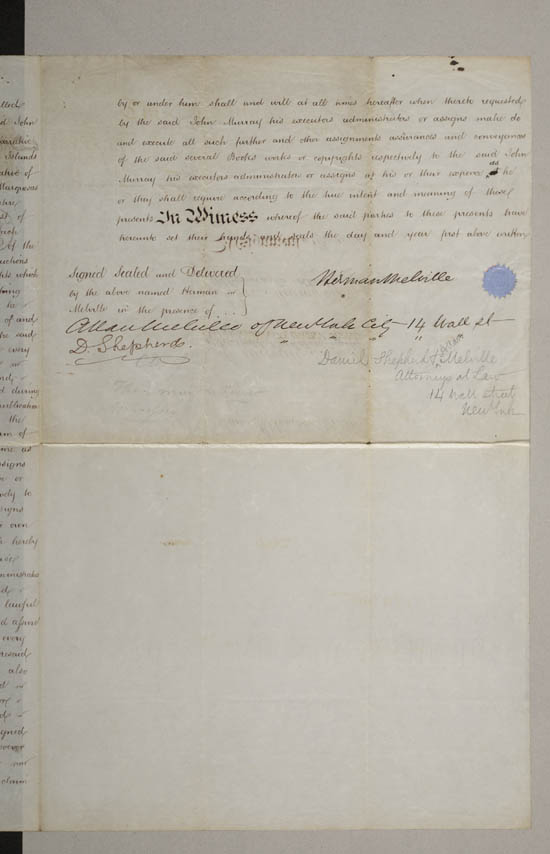 Copyright agreement between Herman Melville and John Murray, 25 September 1850 - MS.42479 ff.9-10