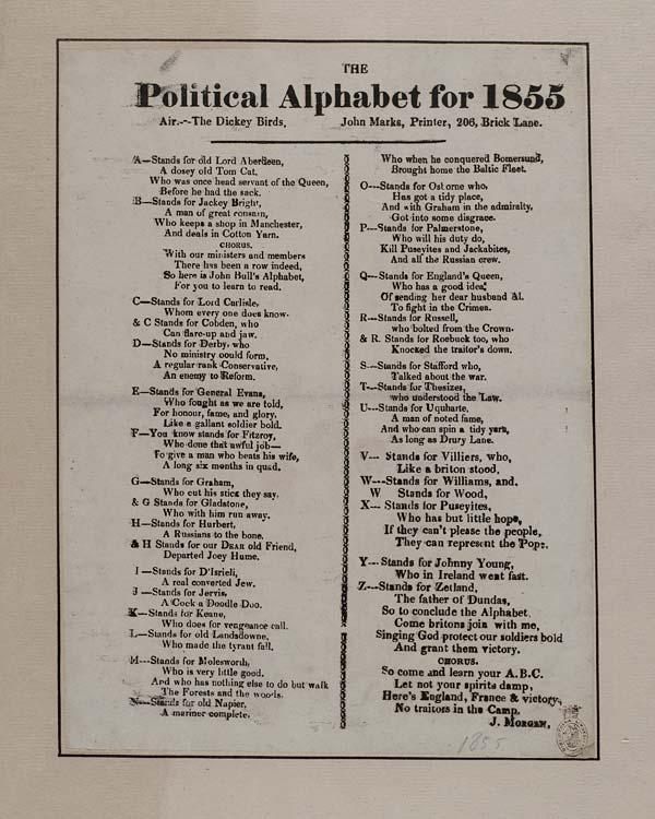 (1) Political alphabet for 1855