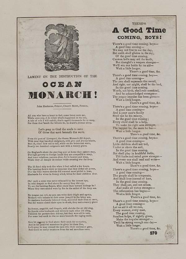 (3) Lament on the destruction of the Ocean Monarch!
