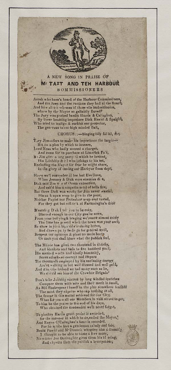 (6) New song in praise of Mr Tait and teh [sic] harbour bommissioners [sic]