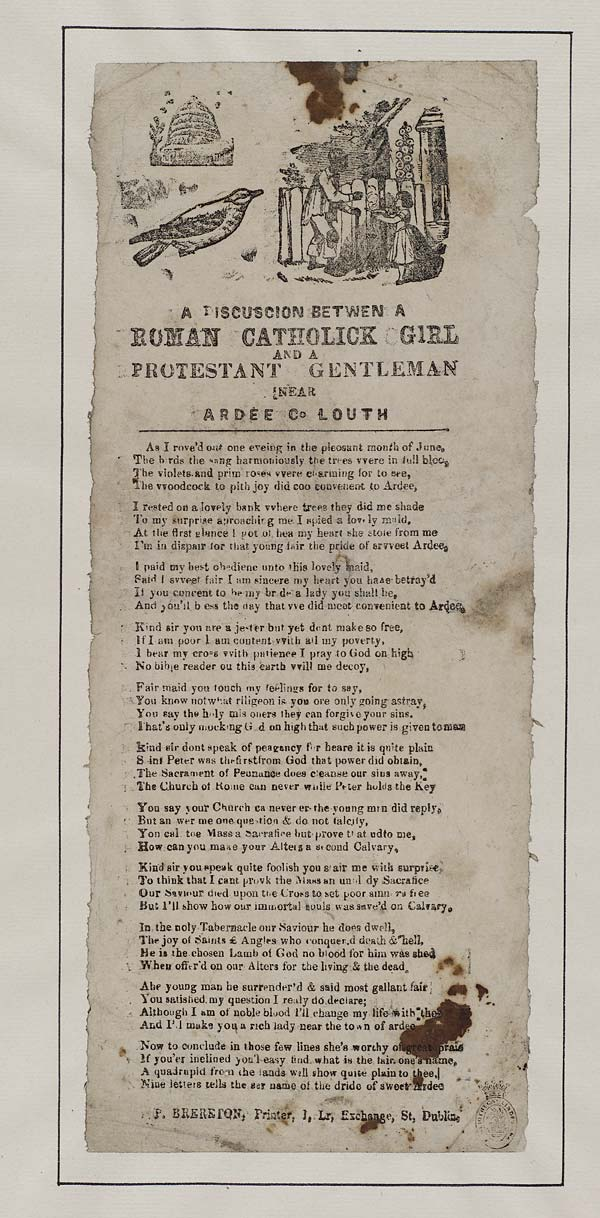 (4) Discuscion [sic] betwen [sic] a Roman Catholick girl and a Protestant gentleman near Ardee Co Louth