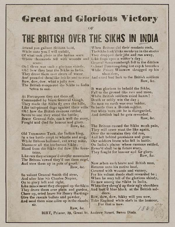 (2) Great and glorious victory of the British over the Sikhs in India
