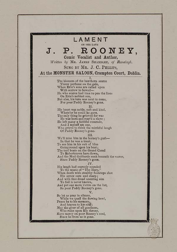 (8) Lament on the late J P Rooney