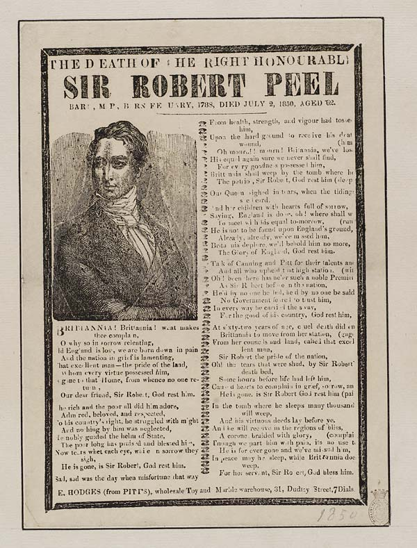 (9) Death of the right honourable Sir Robert Peel