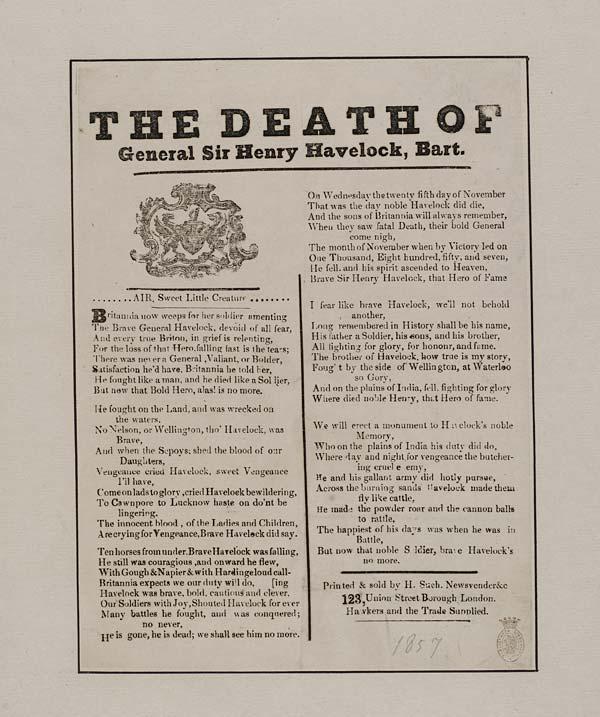 (4) Death of General Sir Henry Havelock, Bart