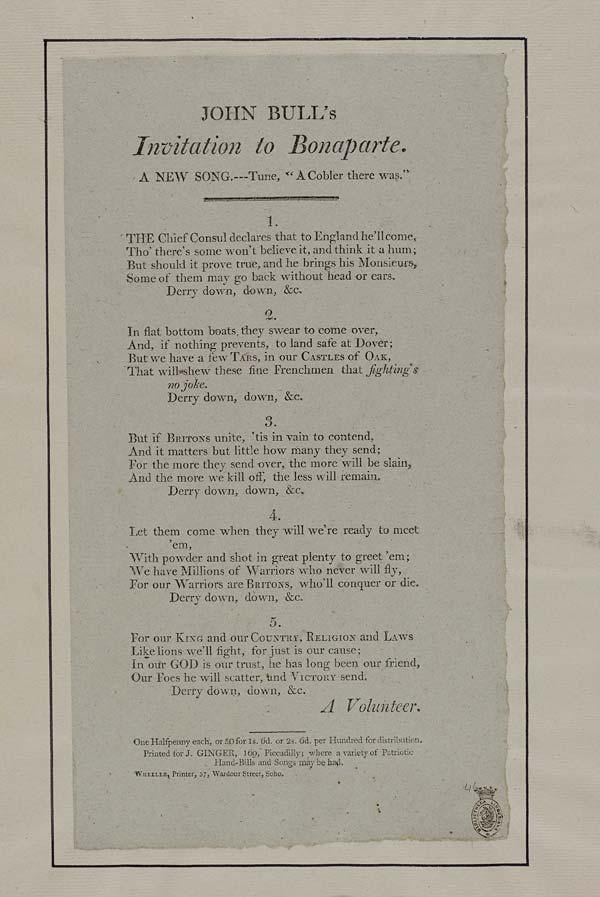 (11) John Bull's invitation to Bonaparte