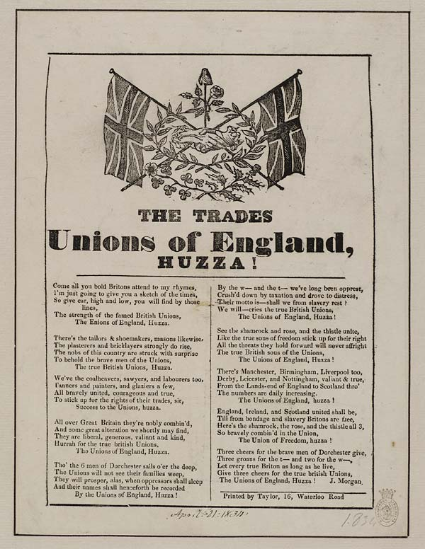 (13) Trades unions of England, Huzza