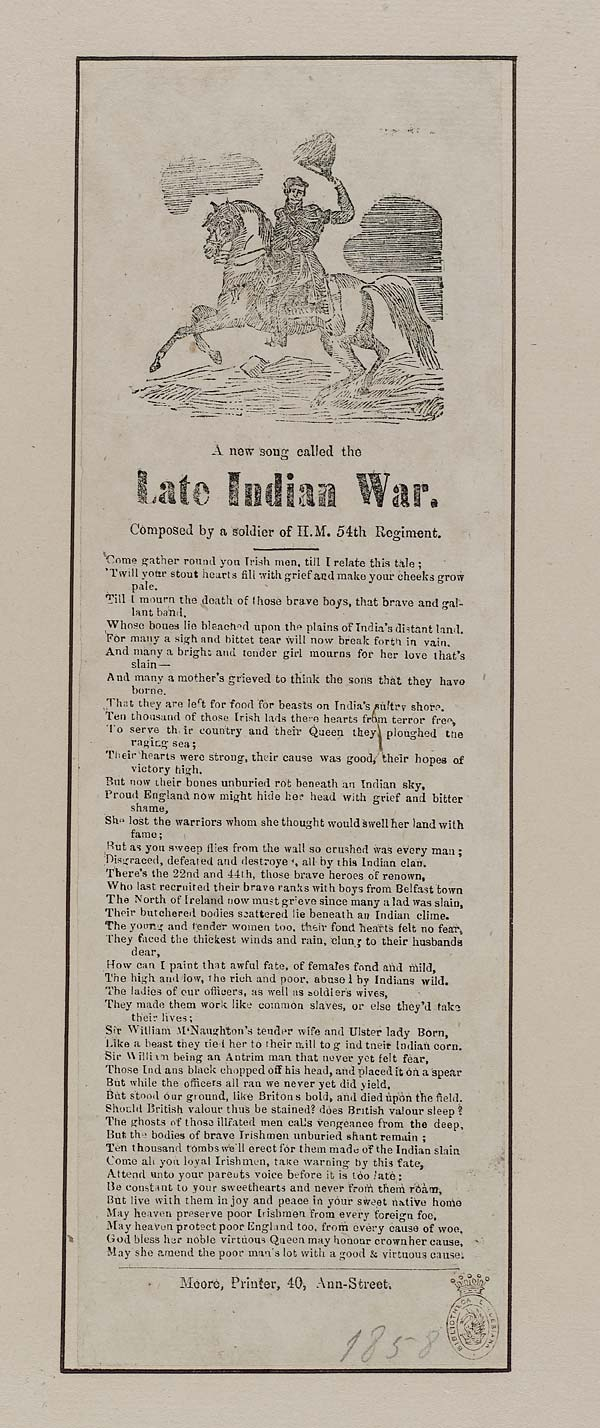 (5) New song called the late Indian war