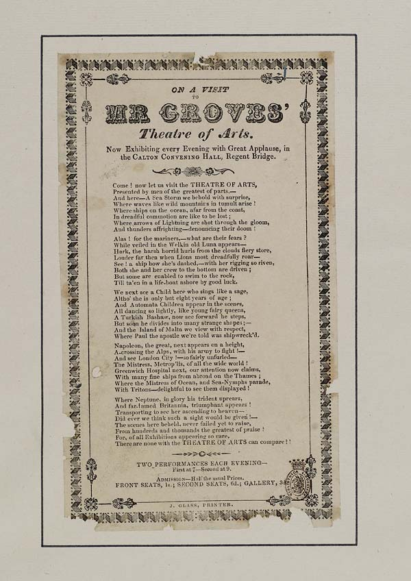 (10) On a visit to Mr Groves' theatre of arts
