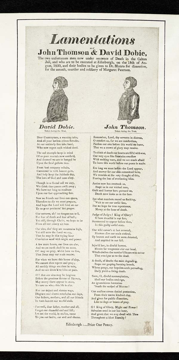 (31) Lamentations as of John Thomson & David Dobie