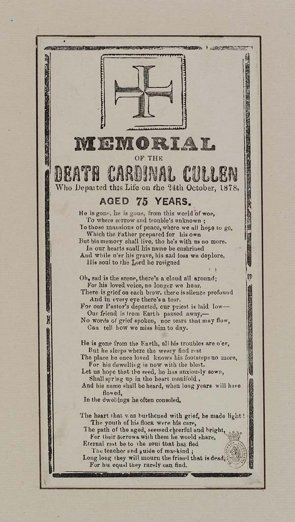 (21) Memorial of the death Cardinal Cullen