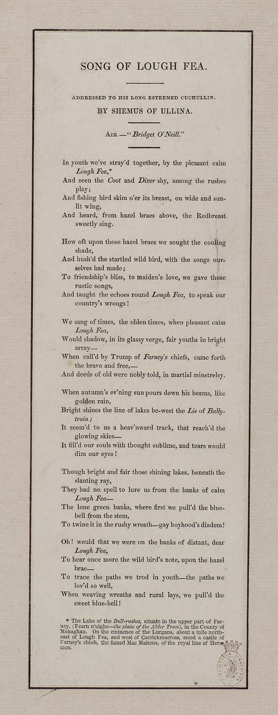 Song of Lough Fea - Ireland - English ballads - National