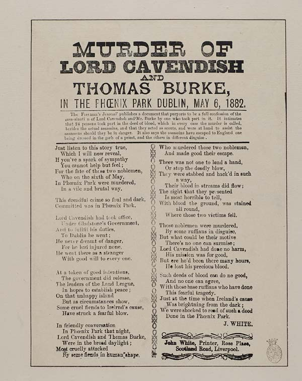(49) Murder of Lord Cavendish and Thomas Burke, in the Phoenix Park Dublin, May 6, 1882