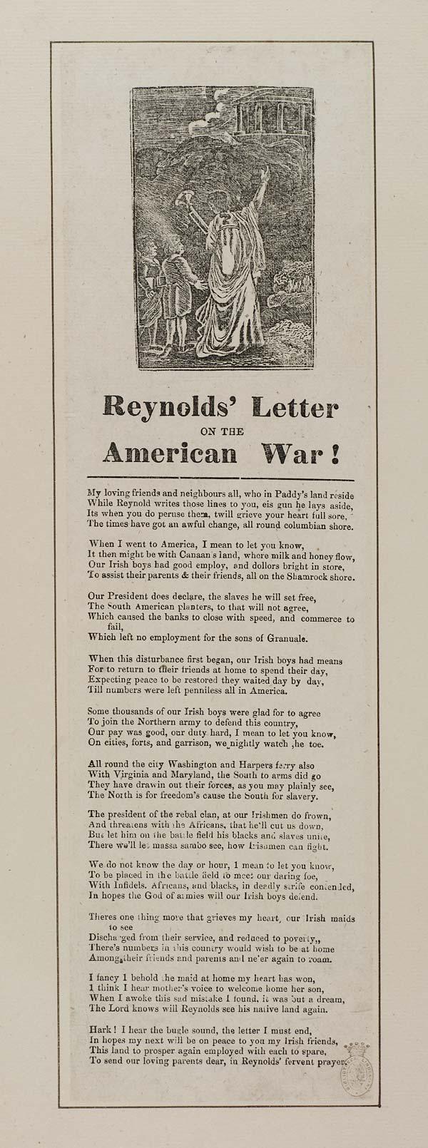 (13) Reynolds' letter on the American war