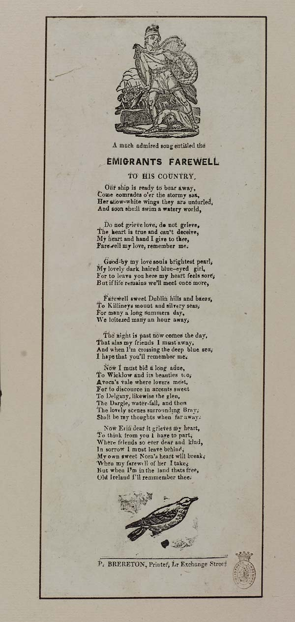 (46) Much admired song entitled The emigrants farewell to his country